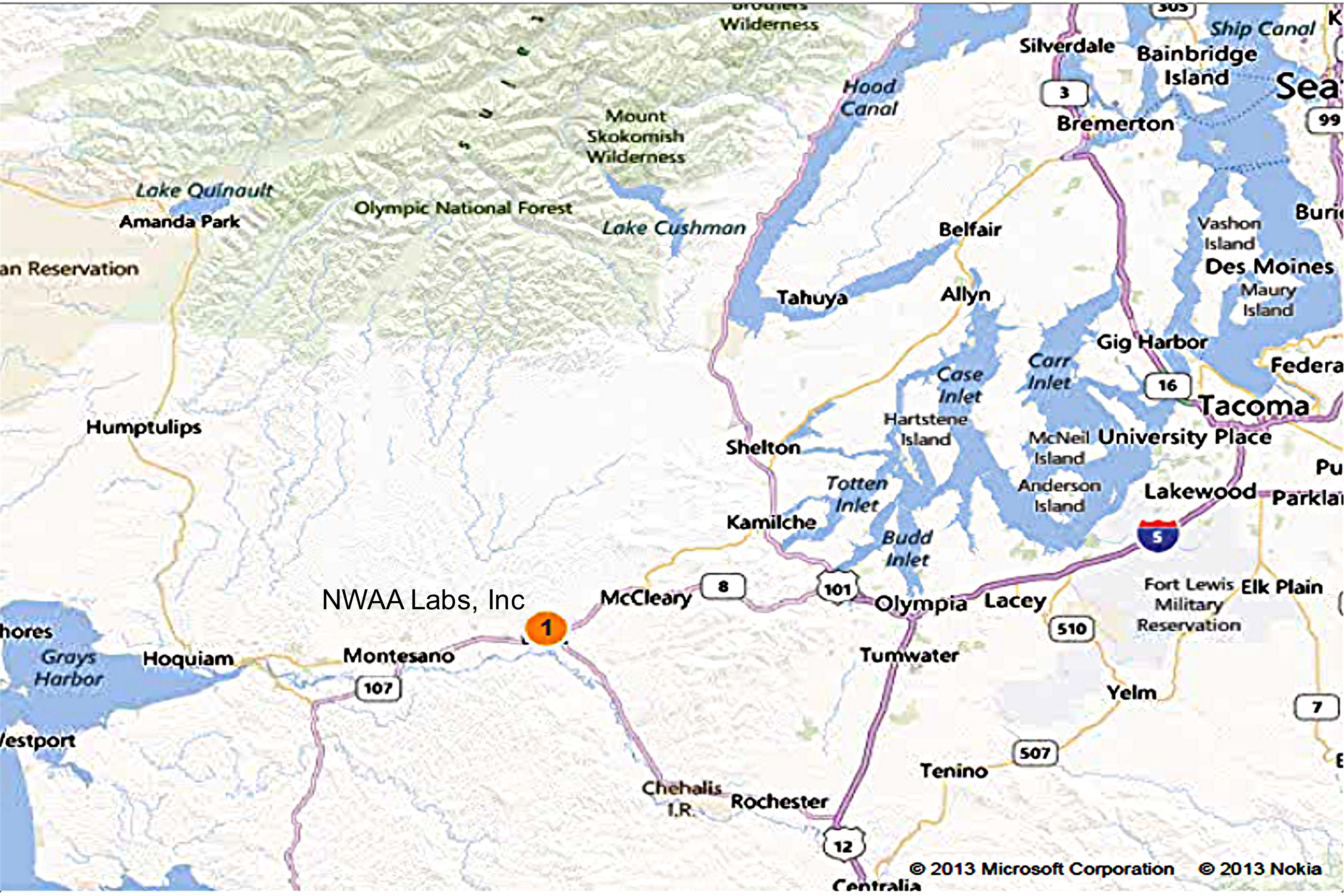 Location Map of NWAA Labs, Inc